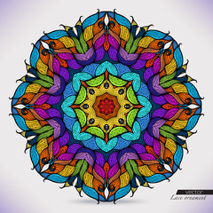 Colorful abstract vector circular ornament.