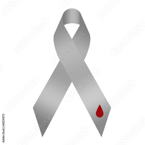 Grey diabetes awareness ribbon with red blood drop