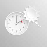 Summer time change clock with sun speech bubble