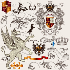 Set of  heraldic design  elements with shield, crown, griffin an