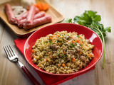 rice with sausage, selective focus