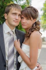 newlyweds on nature background