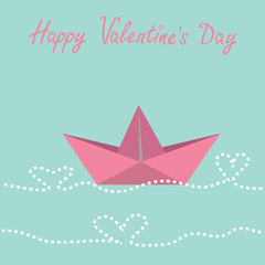Origami paper boat and waves in shape of heart.  Happy Valentine