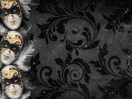 Tuinposter Carnaval Vintage style dark masquerade background