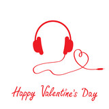 Red headphones and cord in shape of heart.  White background. Ha