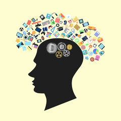 head with social applications graphical user interface flat icon