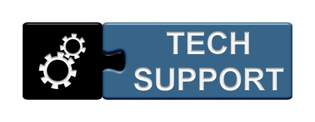 Puzzle-Button schwarz blau: Tech Support