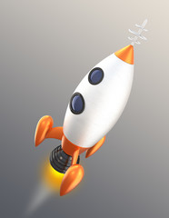 Retro toy rocket with clipping path