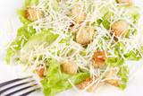 Caesar salad prepared on the classical recipe