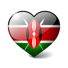Kenya 3d glass heart with realistic shadow