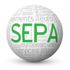 """SEPA"" Tag Cloud Globe (euro payment money transfer transaction)"