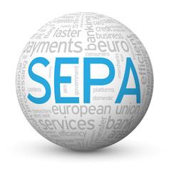 """SEPA"" Tag Cloud Globe (payment money transfer euro transaction)"