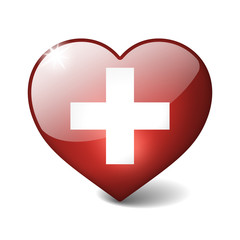 Switzerland 3d glass heart with realistic shadow on white