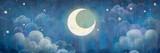 The night sky. Stars and Moon.Romance  illustration