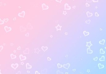 many shapes of stars and hearts on gradient backgrounds