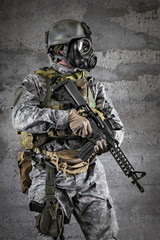 Gas Mask Soldier with a rifle