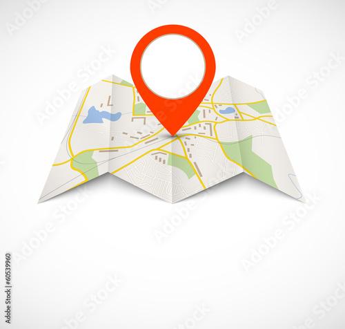 Mapa nawigacyjna z czerwoną pinezką