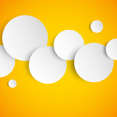 Abstract orange background with white paper circles