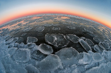 frozen globe in morning