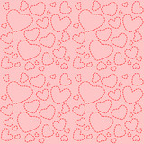 Cute pink seamless texture with red hearts