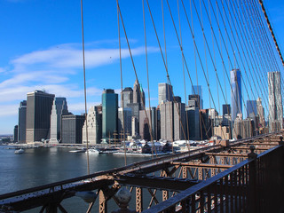 Manhattan view from the Brooklyn Bridge