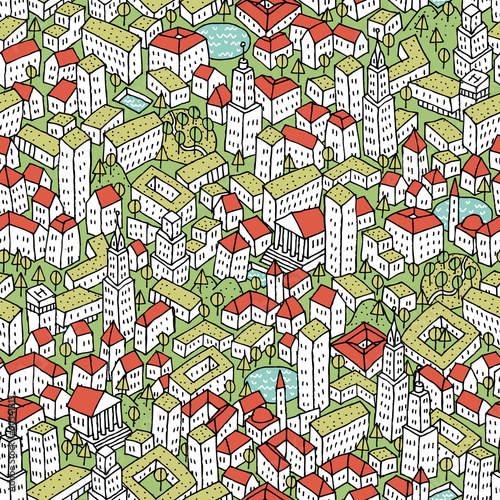 Modern Eco City seamless pattern