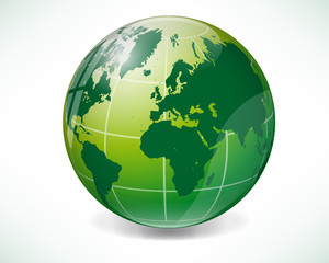 Green world globe map with reflection