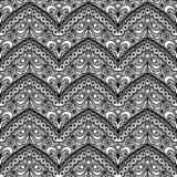 Lace black seamless pattern with flowers on white background - 60541724
