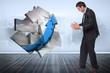 Composite image of stressed businessman gesturing