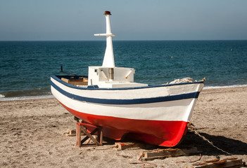Wooden fishing boat spain