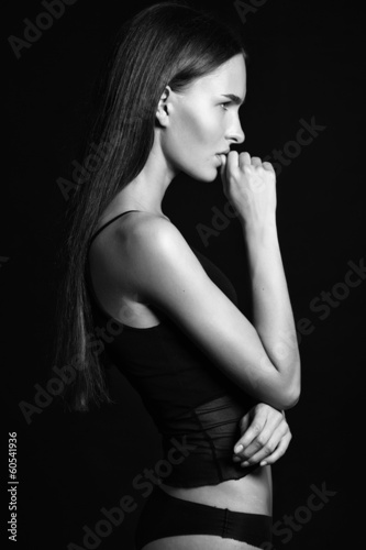 Profile of sexy with pretty long hair © shineman