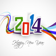 New year 2014  greeting card colorful wave vector illustration