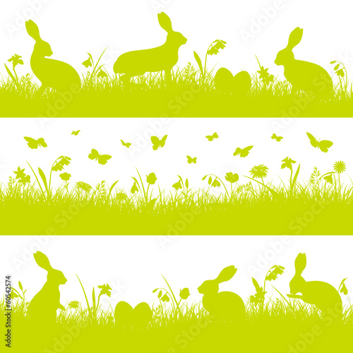 3 Green Easter Banner Meadow Bunny