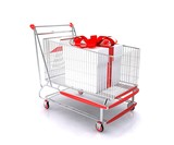 Shopping cart with gift bag