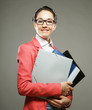 young business woman with folders