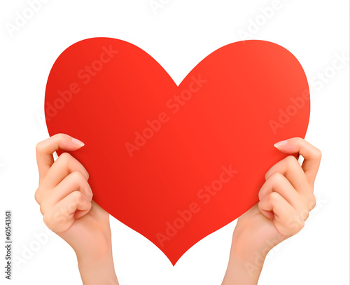 Two hands holding red heart. Vector