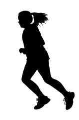 Girl Running Silhouette