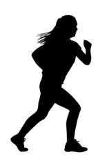 Lady Running Silhouette