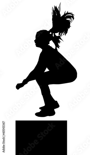 Girl Fitness Exerciser Jumping Silhouette