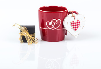gift and a cup of coffee for love