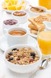 muesli, coffee, jams, toast, orange juice and peanut butter