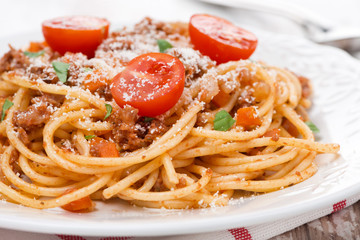 Italian pasta - spaghetti bolognese, close-up