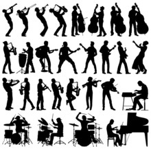 Musicians vector silhouettes