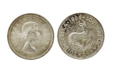 Two Sides Of Vintage Union South Africa Five Shilling Coins