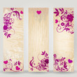 Set of Valentine's Day floral banners