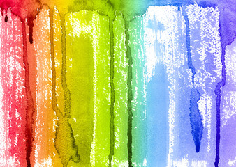 Abstract Watercolor Rainbow Paint Brush and Drips Background