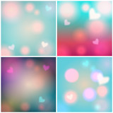 Set of glittering Valentine's Day backgrounds