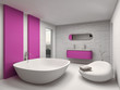 Modern and luxury bathroom interior with pink furniture