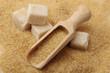 brown sugar cubes and crystal sugar