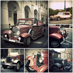 Retro car on the streets of Prague. Classic Vintage Vehicles